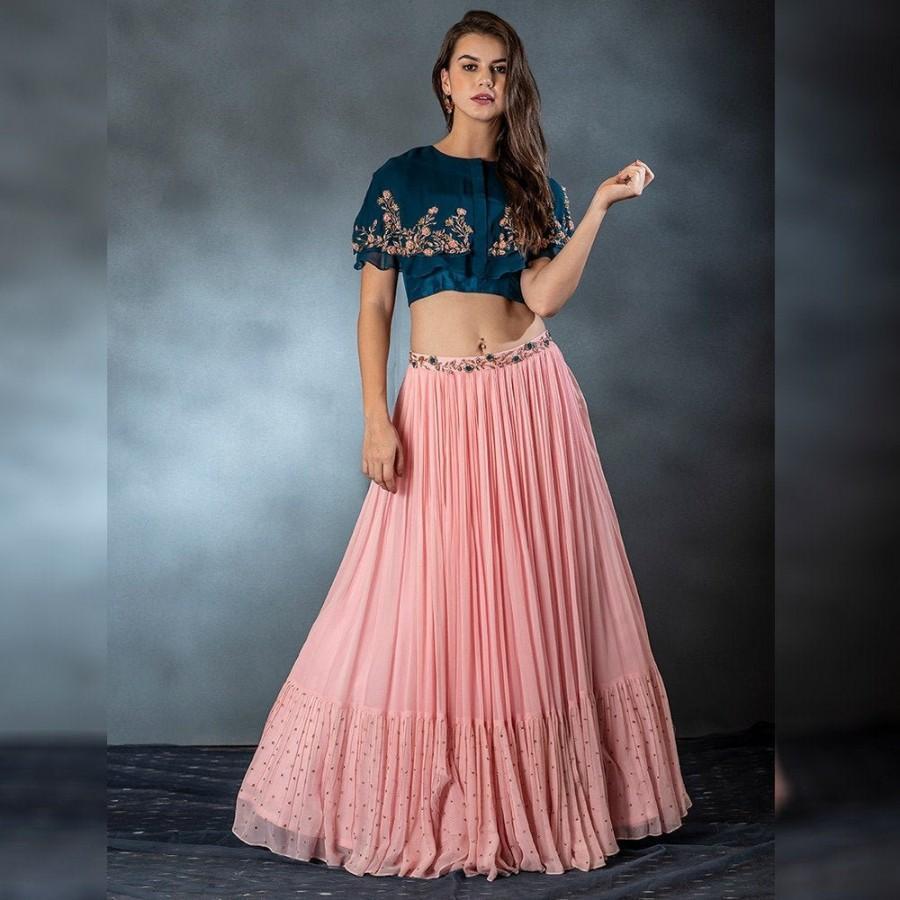 Mariage - Peach Lengha Choli Heavy Designer Indian Pakistani Bridesmaids dress Traditional Bridal Wear lehenga Choli For Wedding And Party