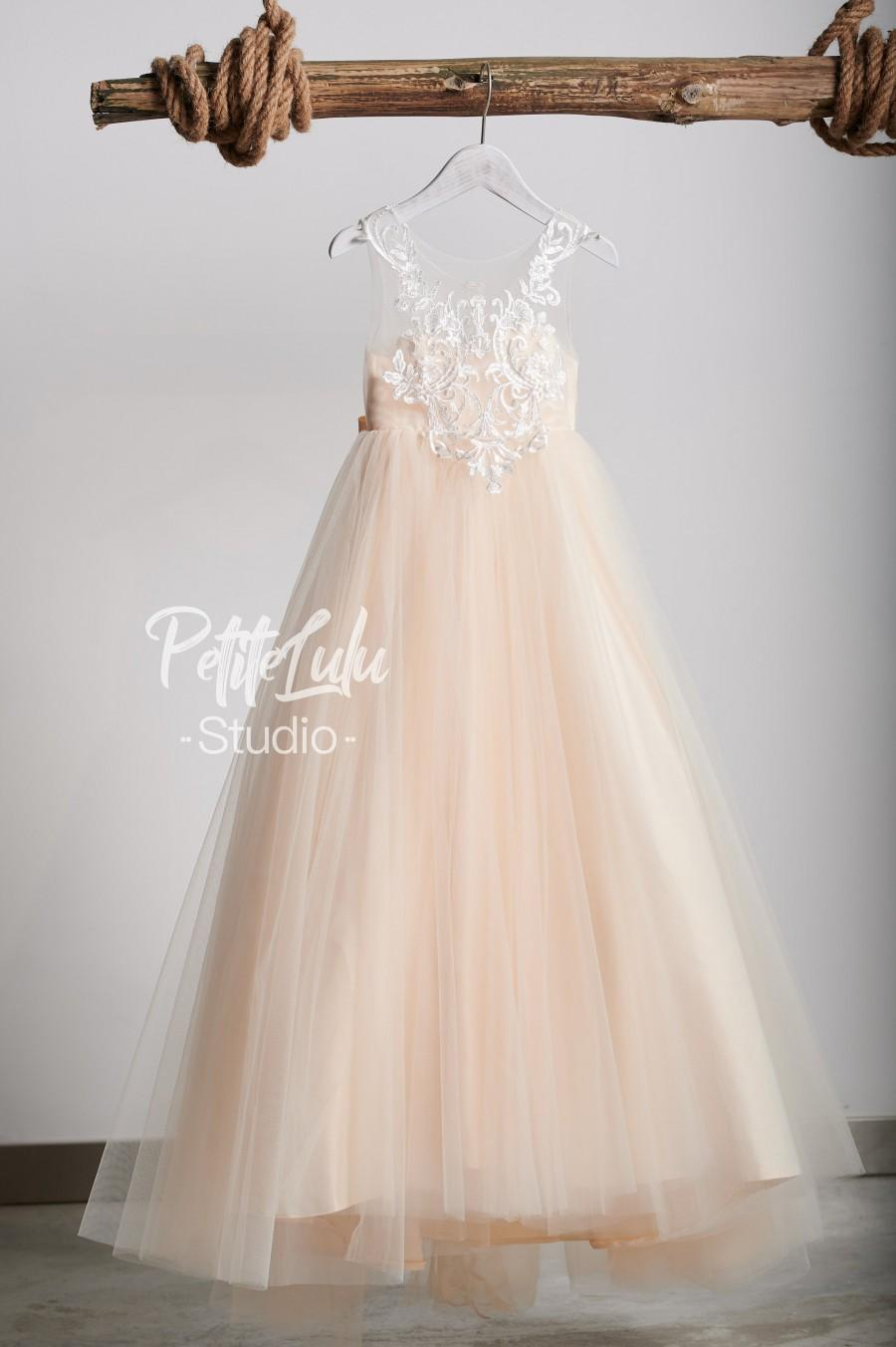 Mariage - Flower Girl Dress, Champagne,  Off-White, Floor Length, Girl Ball Gown Dress, Princess (D011)