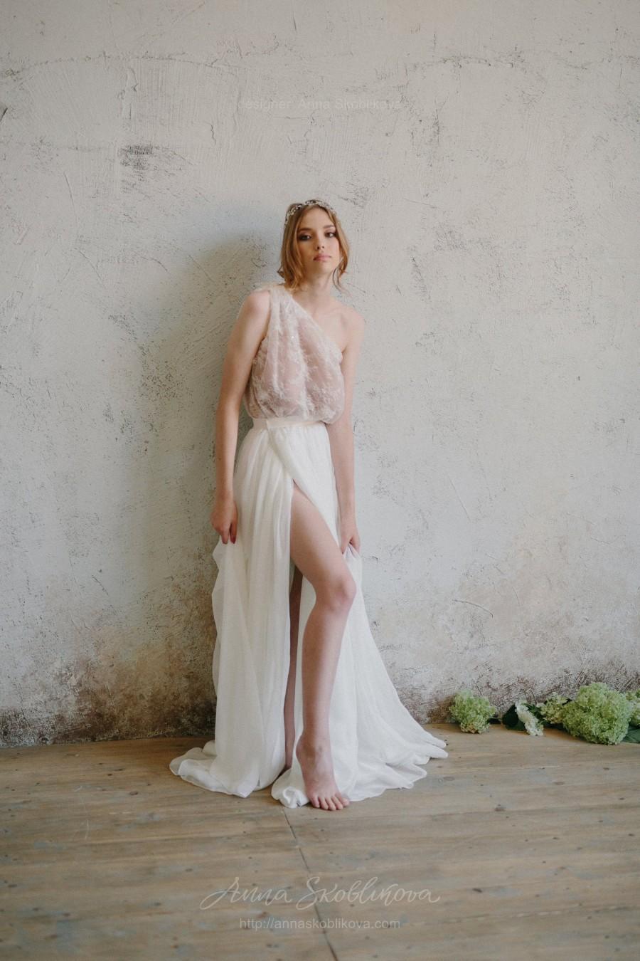 Mariage - Sexy wedding dress, Two piece wedding dress, Bridal separates, Silk Skirt, Alternative wedding dress, Bohemian wedding dress - 0207
