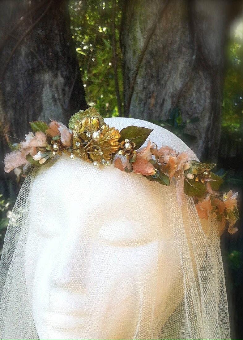 Mariage - Fairy Elven Romantic Bridal Wedding Headpiece Wreath Crown. Vintage 50s silk flowers ,crystals,leaves,pearls, brass flowers.Vintage brooch.