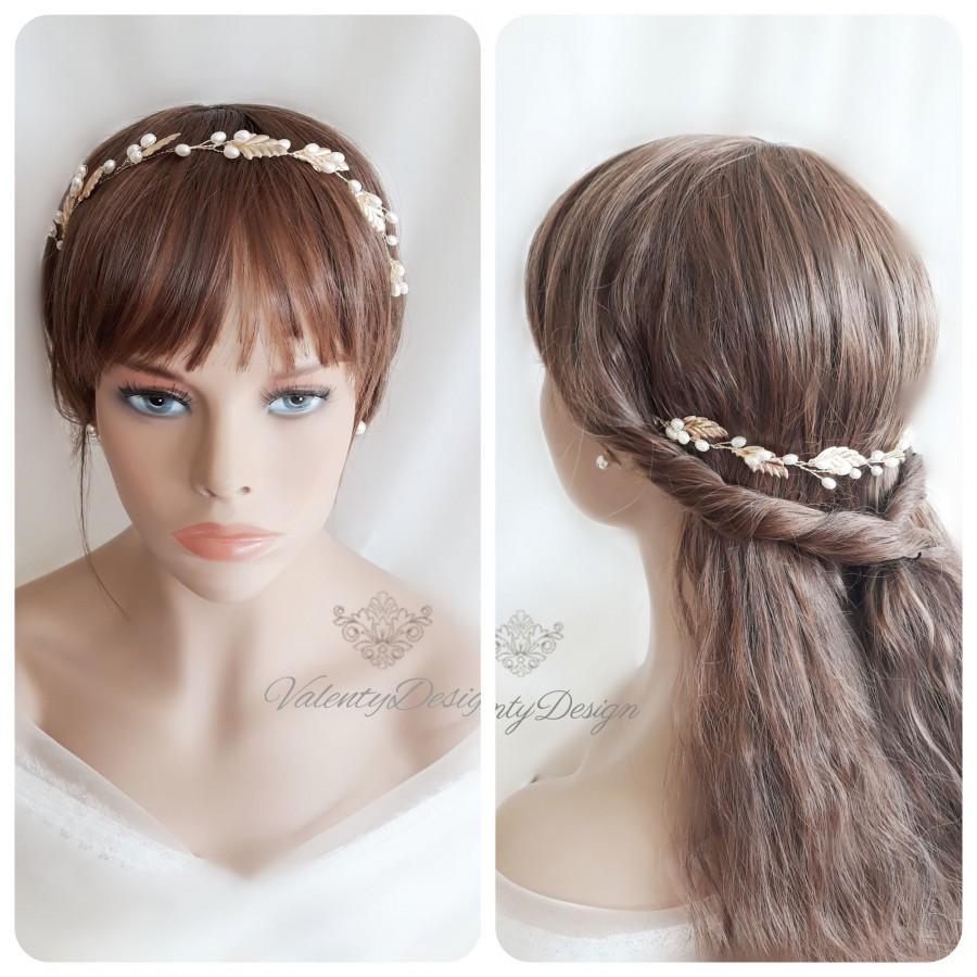Mariage - Gold Bride Hair Frial Bride Pearls Hair Jewelry Wedding Hair Accessories Wedding Hair Vine Tiara
