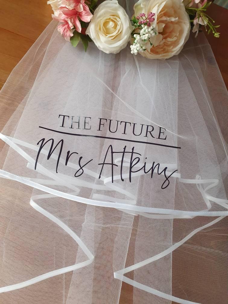 زفاف - Hen party veil, future mrs hen veil, personalised veil for bride ,bride to be gift, bachorlorette veil, bridal shower veil, hen do,