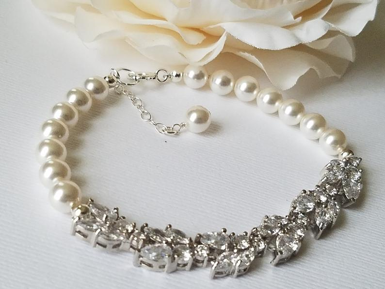 Wedding - Pearl Bridal Bracelet, Wedding Bracelet, Swarovski White Pearl Silver Bracelet, Wedding Jewelry, Bridal Pearl Jewelry Pearl Crystal Bracelet
