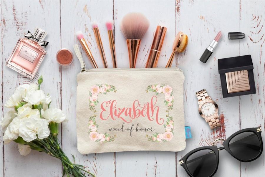 Mariage - Floral Bridal Party Makeup Bag, Wedding Day Makeup Bag, Wedding Party Cosmetic Bag, Bridesmaid Makeup Pouch, Wedding Party Gift, Pouch