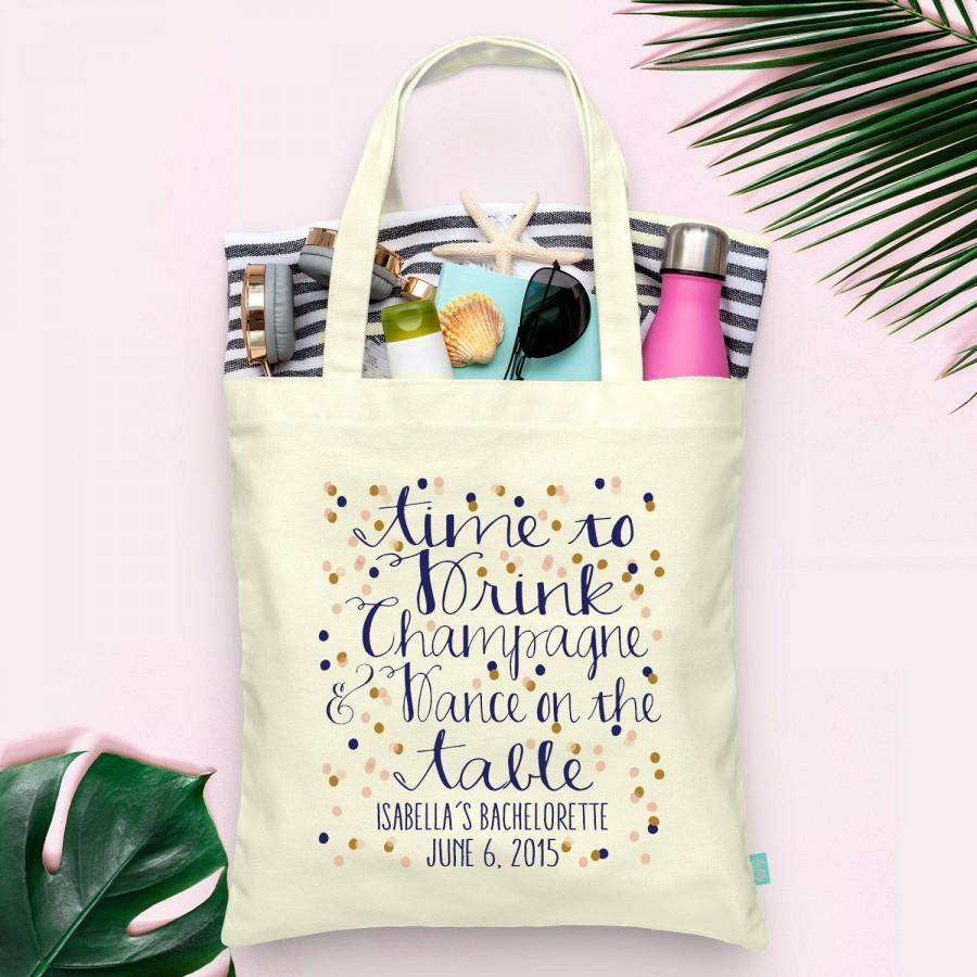 Mariage - Time to Drink Champagne Confetti Bachelorette Party Tote- Wedding Welcome Tote Bag