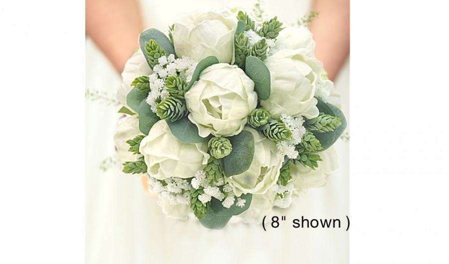 Свадьба - Real Touch White Peonies Eucalyptus Hops & Baby's Breath Bridal Bouquet Bridesmaids Bouquets Prom Bouquet Wedding Flowers CenterPieces