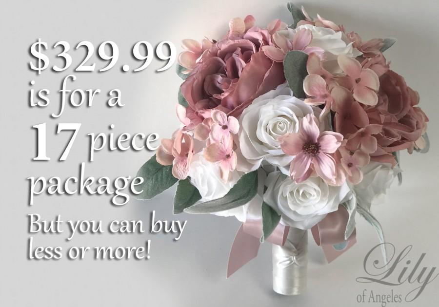 Wedding - Wedding Bouquet, Bridal Bouquet, Bridesmaid Bouquet, Silk Flower Bouquet, Wedding Flower, Dusty Pink, Mauve, Blush, Brick, Lily of Angeles