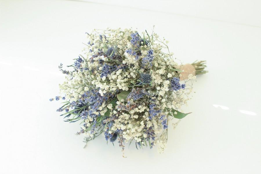 Hochzeit - Lavender Blue Thistle Bouquet Wedding / Babies breath bouquet with eucalyptus leaves / Dry lavender Bridesmaid bouquet / Rustic bouquet