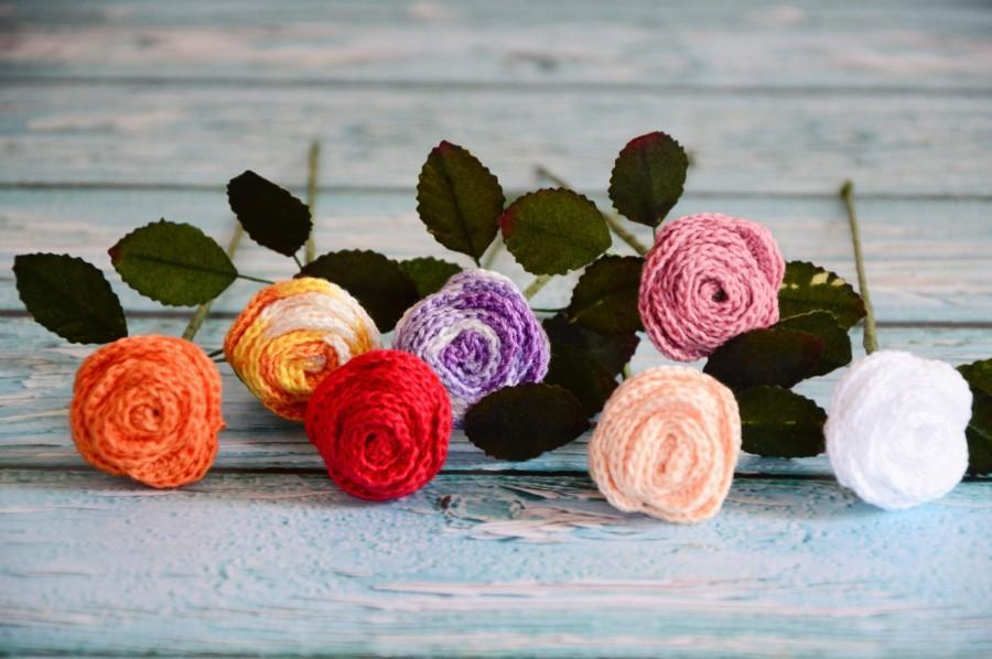 Свадьба - Handmade knitted Rose Flowers, Knitted Roses, Knitting pattern for Roses, Knitted flowers, Floral display, knitted Flower gift for her