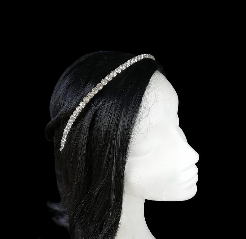 Wedding - Rhinestone wedding headband, Crystal bridal hair piece. DRN-001