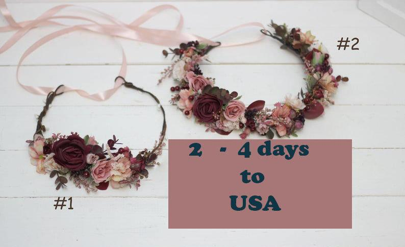 Mariage - Burgundy dusty rose wedding crown Floral accessories Maternity crown Bridal hairpiece  Flower girl headband Boho wedding Bridesmaid - TAIS