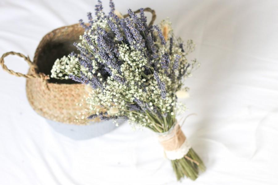 Mariage - Lavender Bouquet / Dried Lavender / Darling Bridal Bouquet / Dried Flower Bouquet / Lavender Wedding / Bridesmaid Bouquet / Lavender Bunch