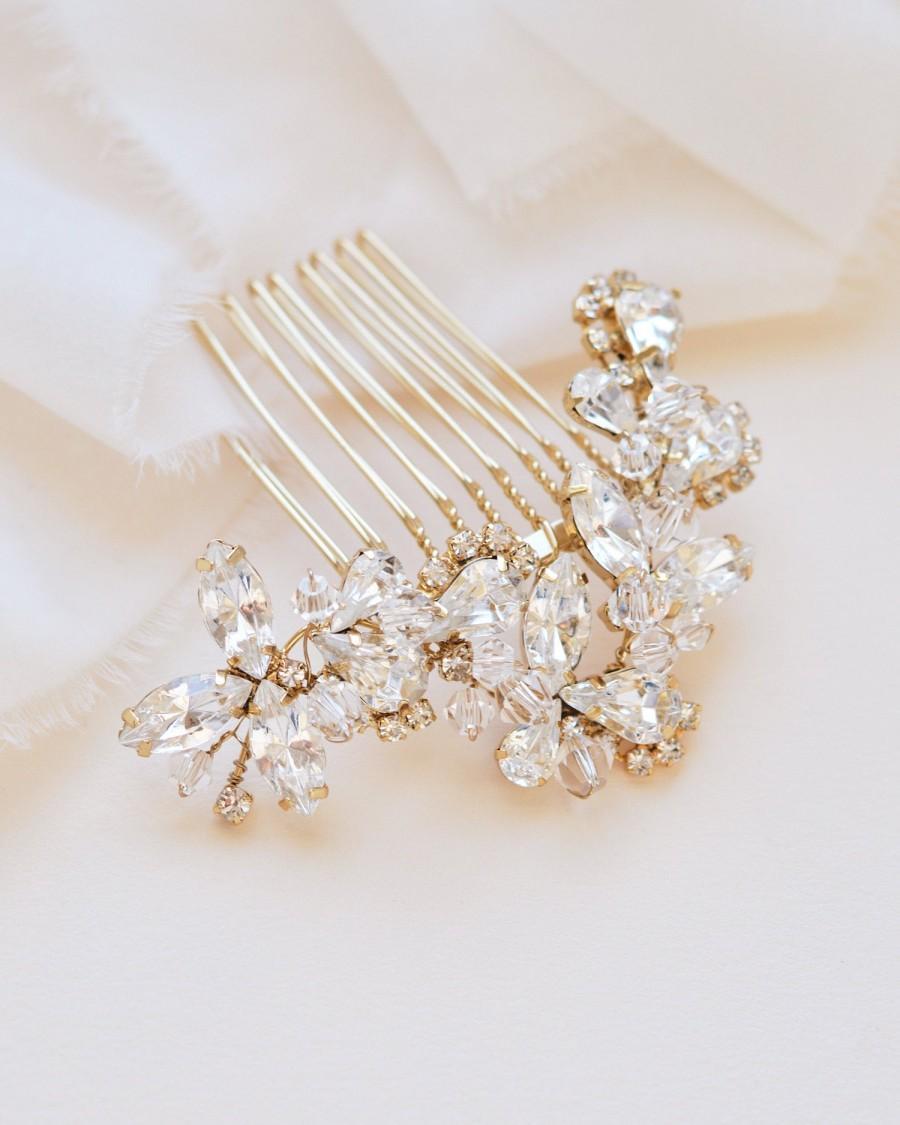 Wedding - Vintage Wedding Comb, Rose Gold Rhinestone Comb,Bridal Headpiece, Bridal Hair Comb, Wedding Hair Accessory,Hair Comb for Wedding ~TC-2222