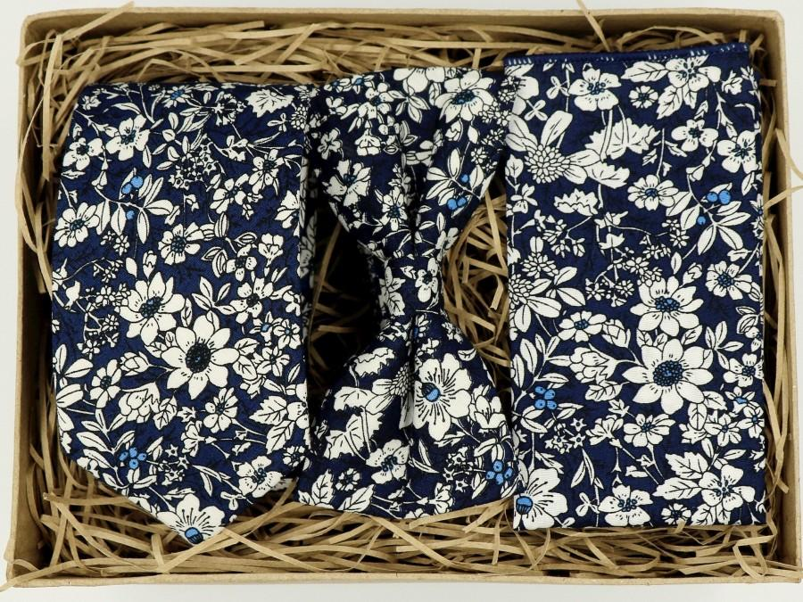 Wedding - DARCEY: Floral Tie Floral Pocket Square Wedding Dress Grooms Tie Navy Tie Set Groomsmen Gifts for Men Boyfriend Gift Mens Ties for Men
