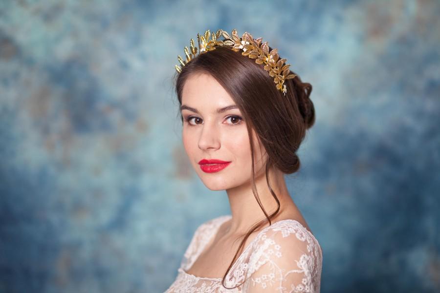 Hochzeit - Gold leaf wedding crown Leaf bridal crown gold Bridal headband Gold bridal tiara - JADE