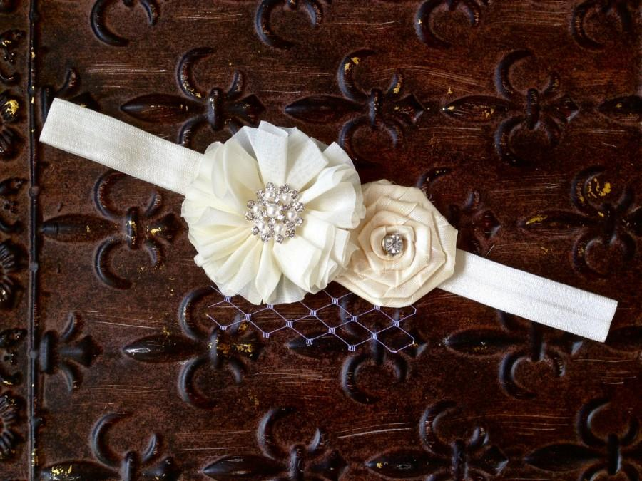 Wedding - Ivory Flower Girl Headband, Pearl Flower Girl Headband, Bridal Headband, Ivory Baby Headband, Ivory Photo Prop, Baptism Headband, Headband
