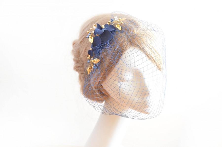 Wedding - Navy blue and gold birdcage veil Birdcage veil headband Bridal veil fascinator Simple fascinator Bridal headpiece  Flower headpiece