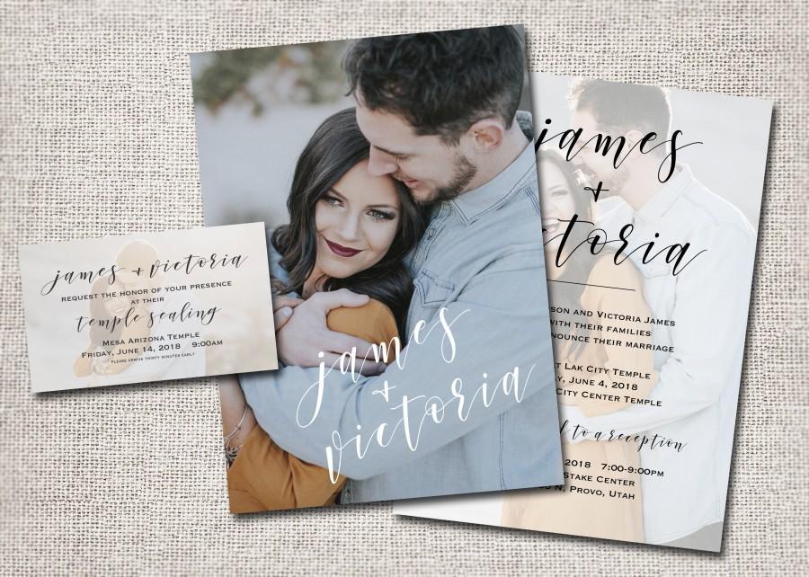 Свадьба - Wedding Invitation, Photo wedding invitation, wedding invites, photo wedding invitations, temple wedding: PRINTABLE-James + Victoria