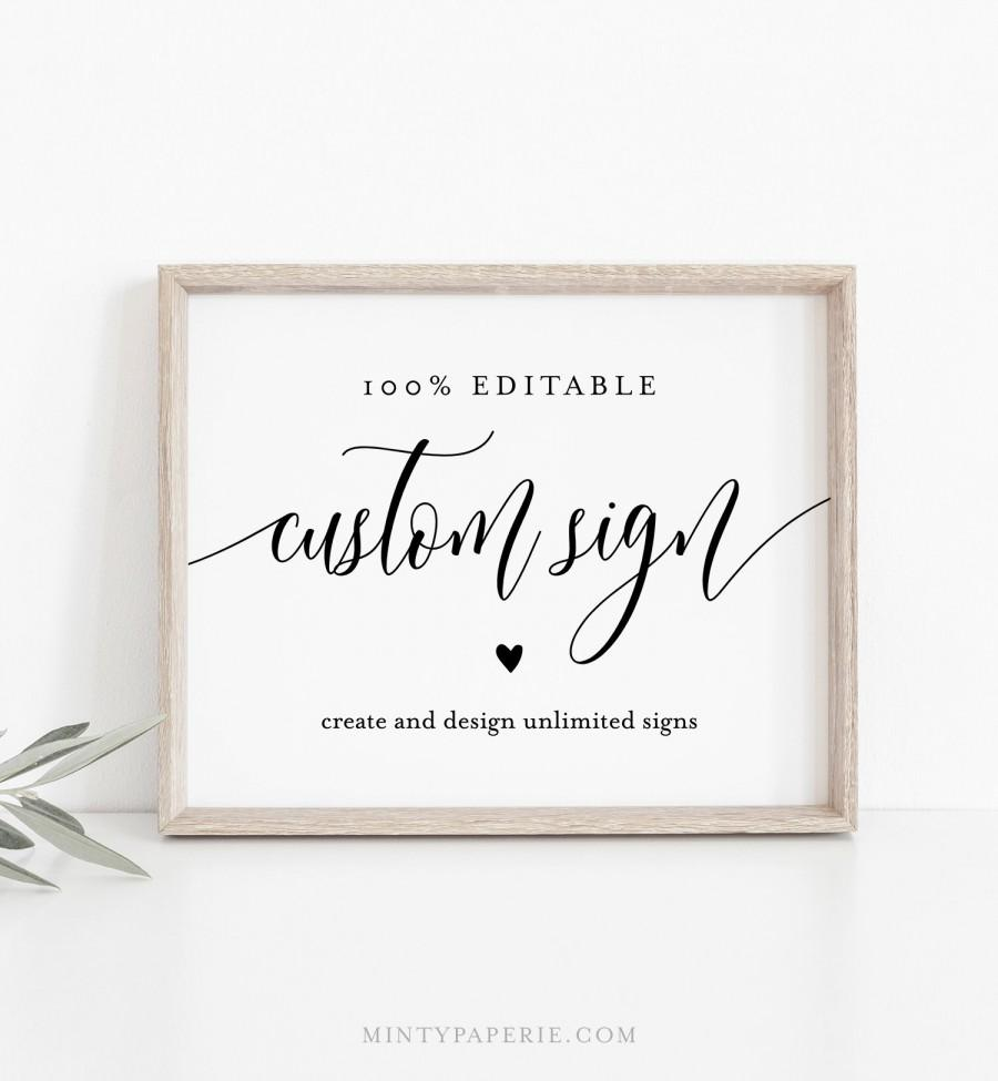 Свадьба - Editable Custom Wedding Sign Template, Bridal Shower Sign, Create Any Sign Unlimited Times, INSTANT DOWNLOAD, Printable, 5x7, 8x10 008-128CS