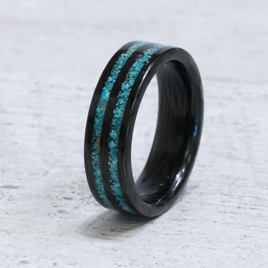 زفاف - Exotic Race - Carbon Fiber and Turquoise Stone Inlay Ring. Wedding And Engagement for Men And Women.