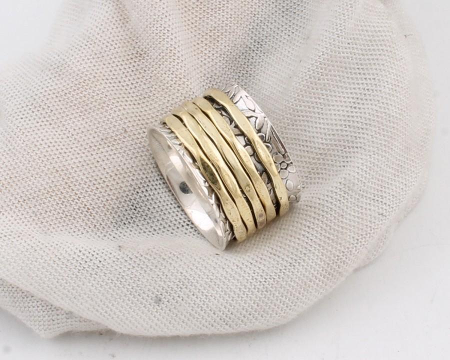 زفاف - 925 Spinner Ring Sterling Silver, 925 Sterling Silver, Metal Ring, Meditation Ring With BrassETSY TOP SELL