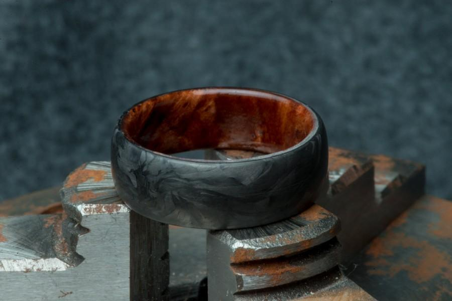 Hochzeit - California Redwood Burl Forged Carbon Fiber Mens Wedding Band, Custom Mens Ring Handmade By Carbon District