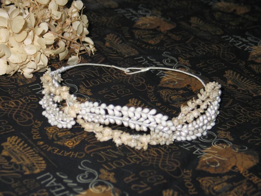 Wedding - Antique Edwardian Wax Flower Crown-Tiara-Vintage Bridal-Wedding