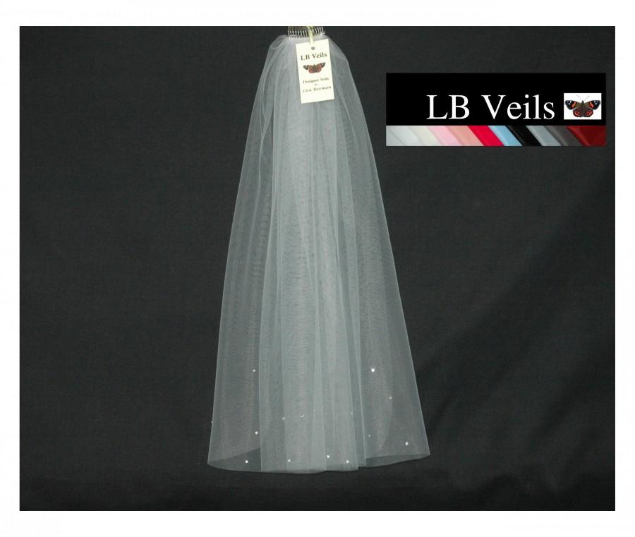 Wedding - Veil, 1 Single Tier, Straight, Edge, Crystal, Diamante, Ivory, White, Short, Shoulder, Length, Waist Elbow Chapel Wedding, LB Veils 173 UK