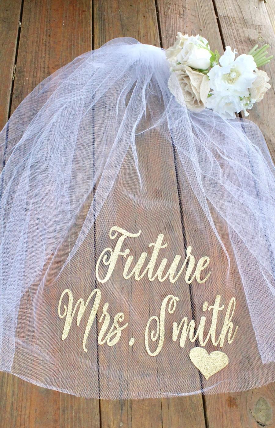 Wedding - Bachelorette Veil- Bridal shower veil- Future Mrs Veil- Bachelorette Party- Mrs. Veil- Personalized Veil- Engagement Gift