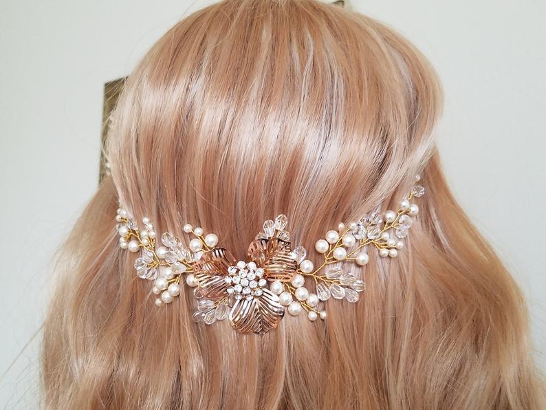 زفاف - Pearl Gold Bridal Hair Vine, Swarovski Ivory Pearl Hair Piece, Wedding Pearl Crystal Headpiece, Bridal Hair Jewelry, Pearl Floral Wreath