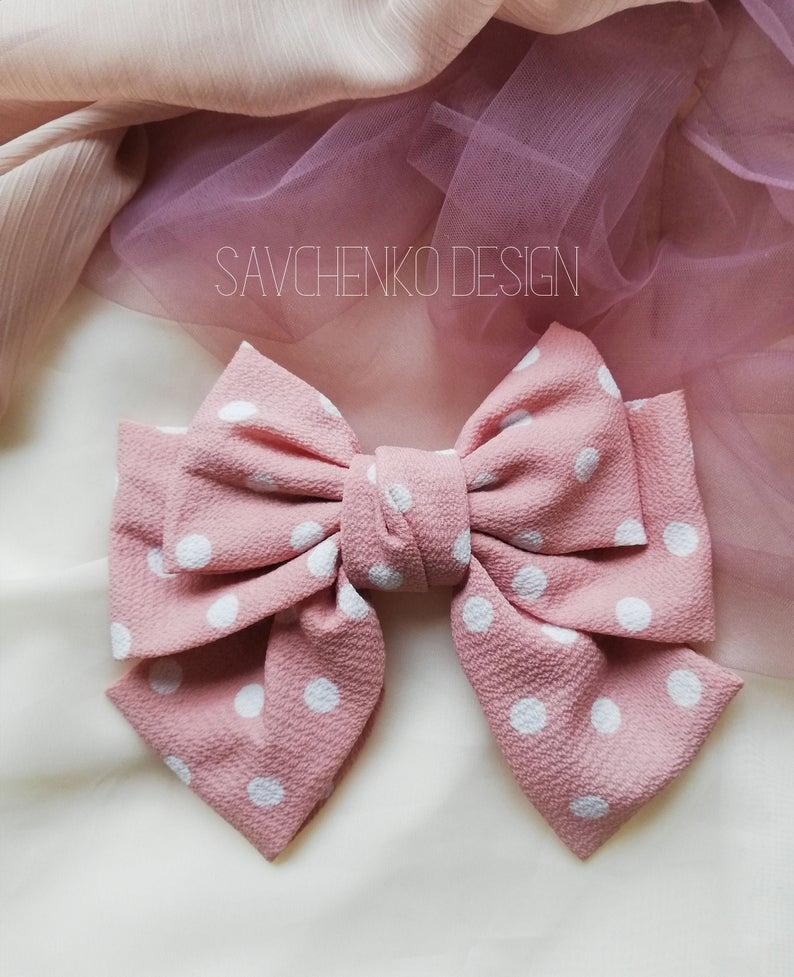 Wedding - blush hair bow, french barrette, Polka Dot Barrette Oversize Style Hair Clips,Lolita Party, Hair Bow Rockabilly, pink and white hair bow
