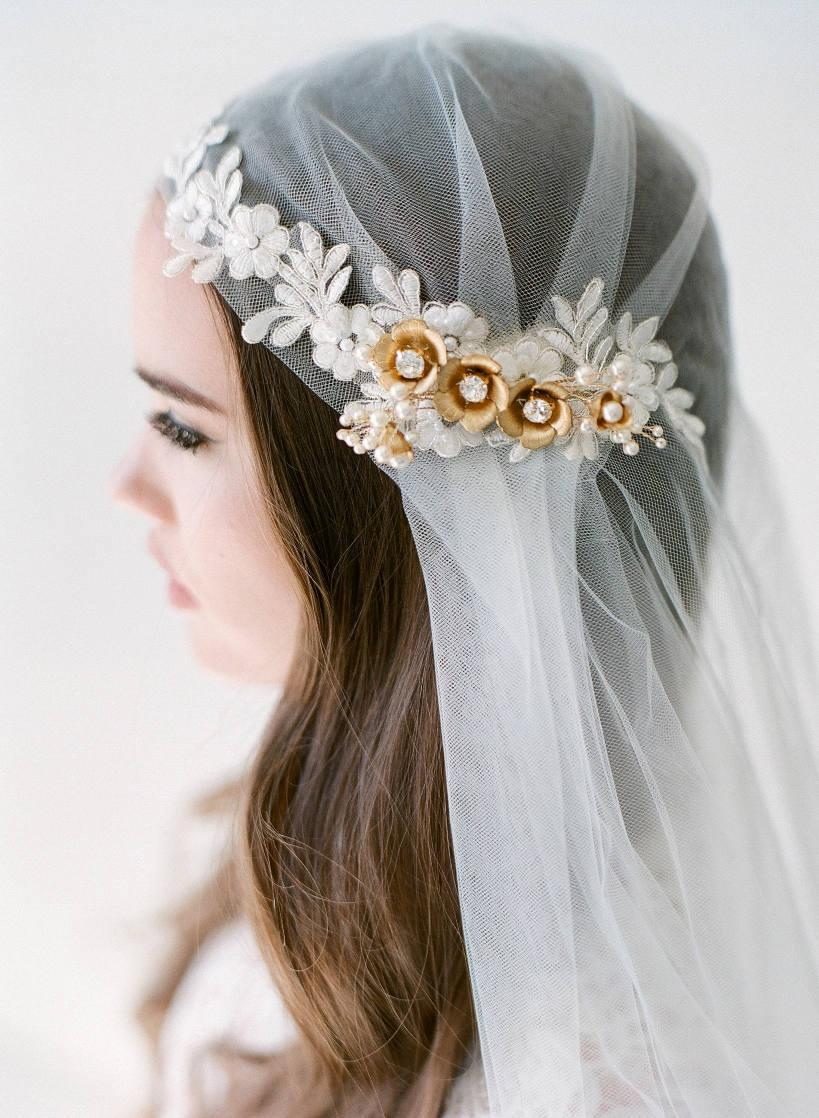 Wedding - Bridal veil gold- Juliet cap veil- Gold flower bridal veil-swarovski veil-wedding veil-fingertip veil- lace veil-beaded veil- style 105
