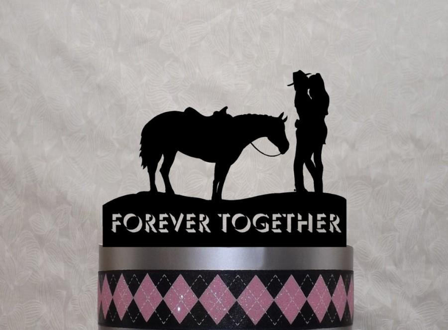 Mariage - Country Cake Topper, Cowboy, Cowgirl, Horse, Western,Country Love, With Your Name or Phrase