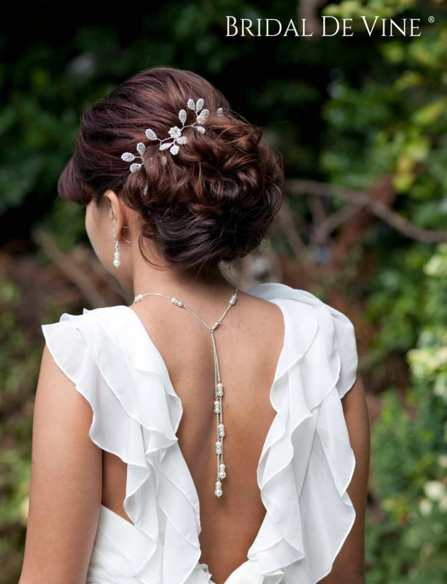 Свадьба - Bridal Backdrop Necklace, Back Jewelery,  Wedding Jewellery -Backless Dress Pearls & Diamante