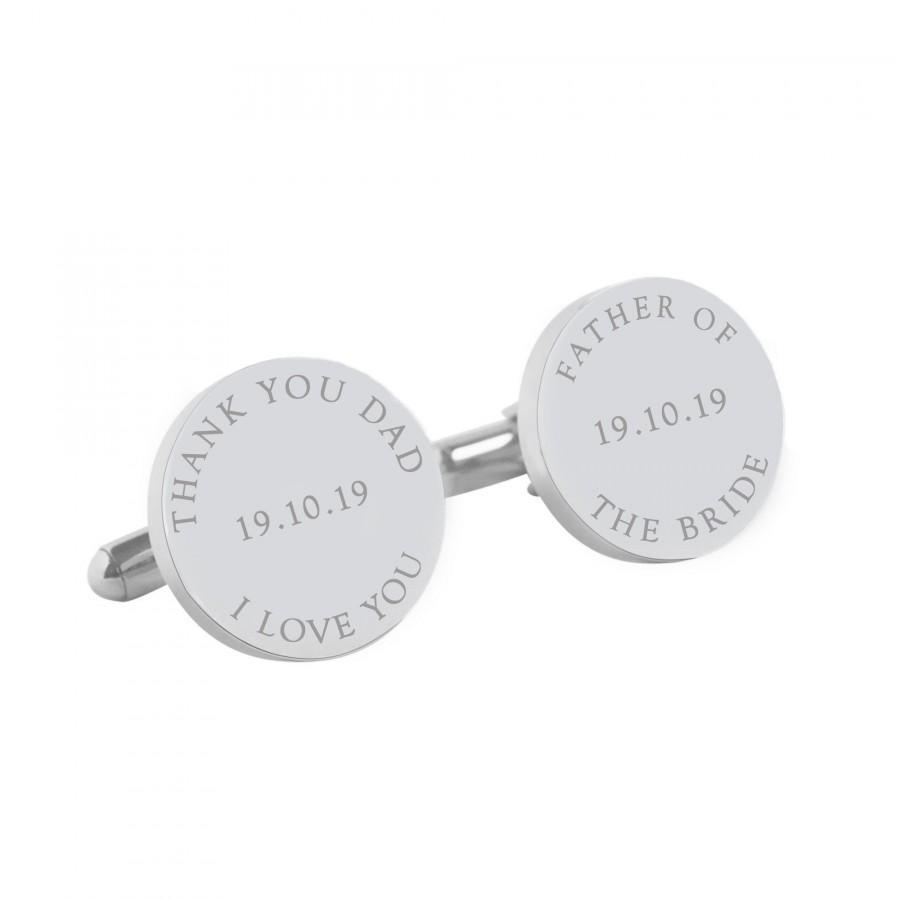 زفاف - Personalised Wedding cufflinks for the Father of the Bride - I Love you Dad Personalized round silver cufflinks for your wedding