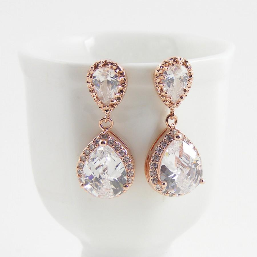 Mariage - Rose Gold Crystal Earrings, Rose Gold Bridal Jewelry, Special Occasion Vintage Style Drop Earrings