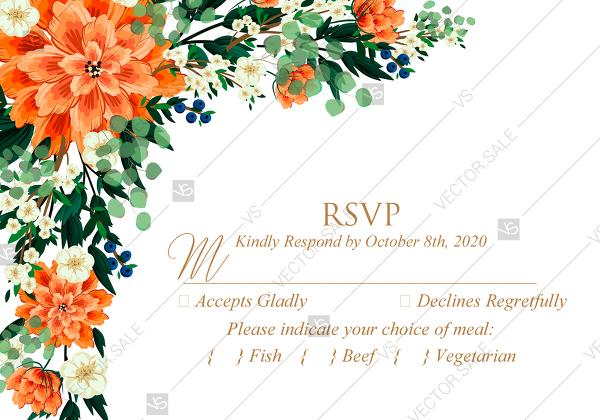 Mariage - RSVP card wedding invitation peach peonies, sakura, blooming in Chinese style PDF 5x3.5 in wedding invitation maker