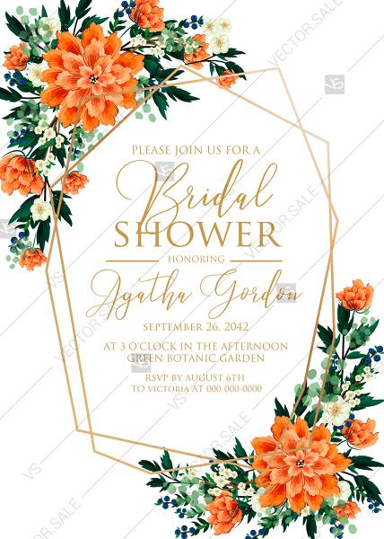 Wedding - Bridal shower wedding invitation peach peonies, sakura, blooming in Chinese style PDF 5x7 in customizable template