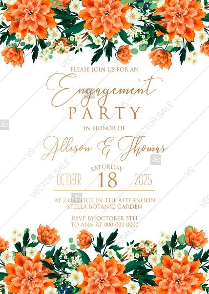 Mariage - Engagement party wedding invitation peach peonies, sakura, blooming in Chinese style PDF 5x7 in online editor