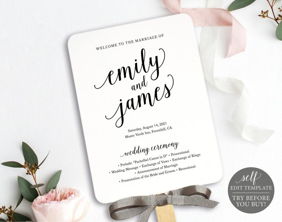 Wedding - Wedding Program Fan Template, Modern Script, 100% Editable Instant Download, TRY BEFORE You BUY