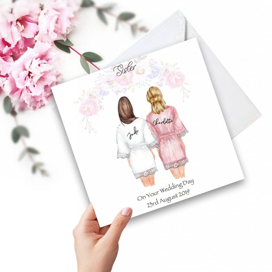 Wedding - On Your Wedding Day Handmade Personalised Card  for Best Friend/ Sister/ cousin Various Hairstyles