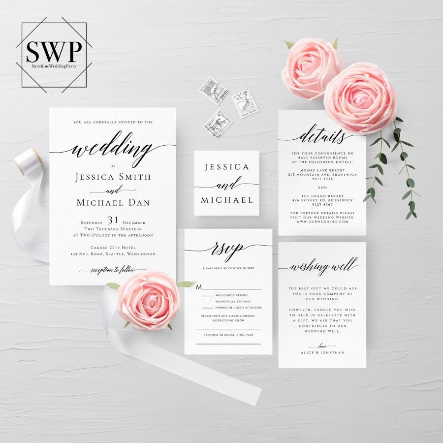 Wedding - Modern Wedding Invitation Set, Calligraphy, Simple, Minimalist, Clean, RSVP, Details, Editable Template, Instant Download, Templett, R2