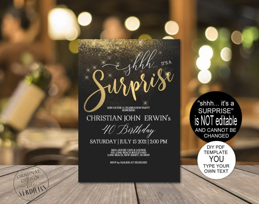 Wedding - DIY Any Age Surprise Birthday Invitation, Shhh it's a Surprise Party Gold Printable PDF for men for women Instant Download