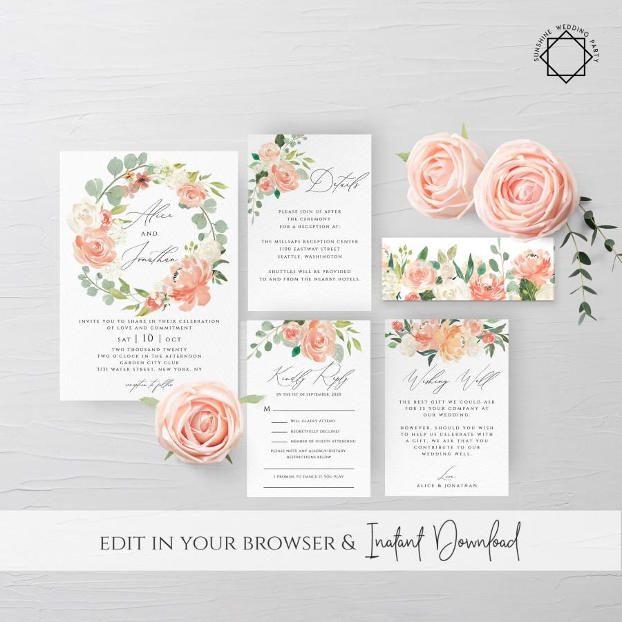 Wedding - Peach Floral Wedding Invitation Template Printable Editable Wedding Invitation Suite Template Kit Templett Wedding Invitation Template F1