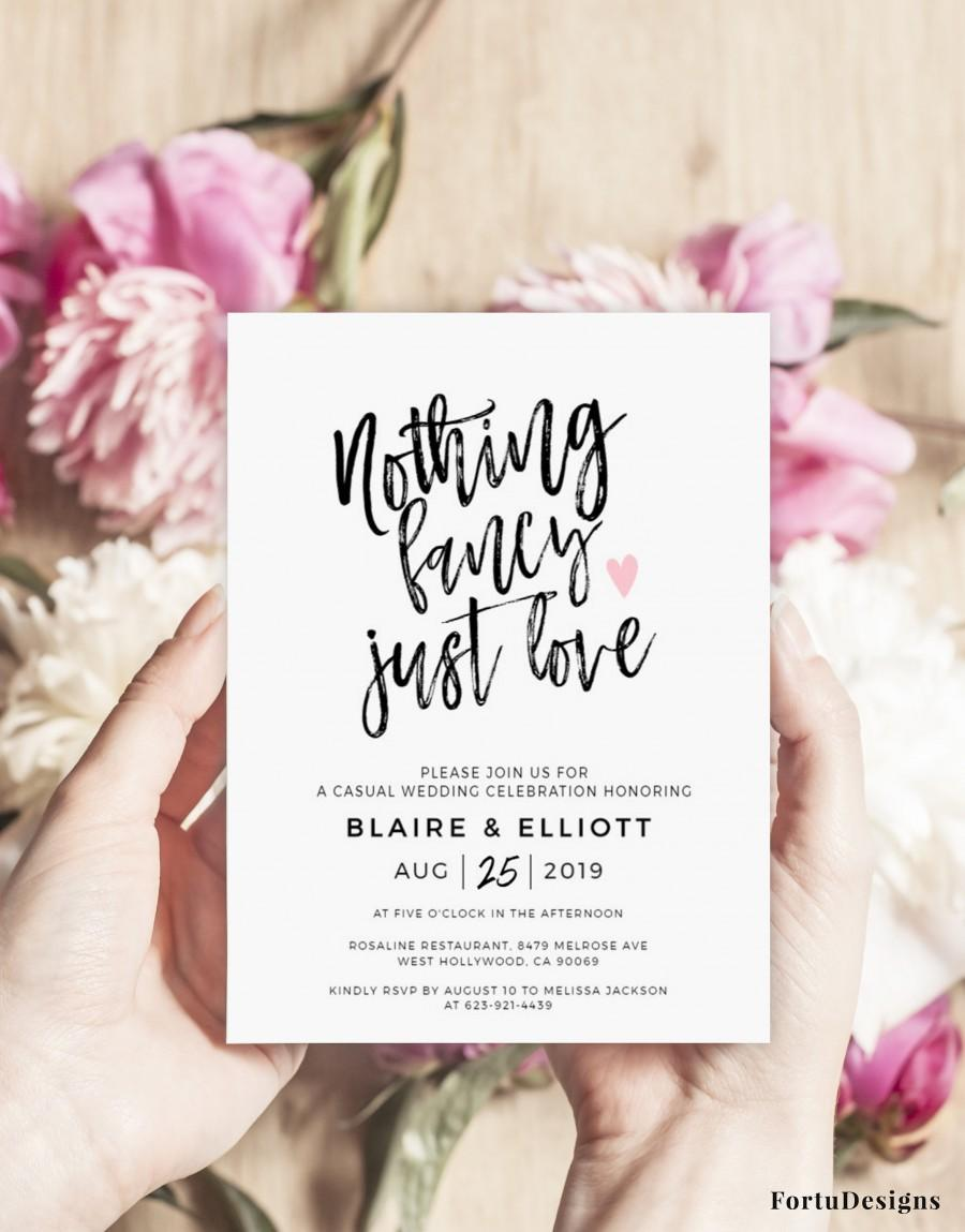 Wedding - Nothing fancy just love wedding invitation, Funny Elopement announcement, Reception invitation template Digital download, Editable 5x7 #50FD