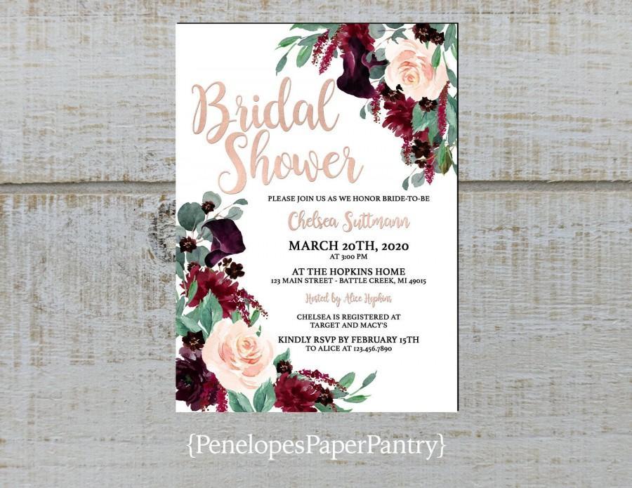 Hochzeit - Elegant Floral Fall Bridal Shower Invitation,Burgundy,Blush,Roses,Calla Lillies,Rose Gold,Shimmery,Personalize,Printed Invitation