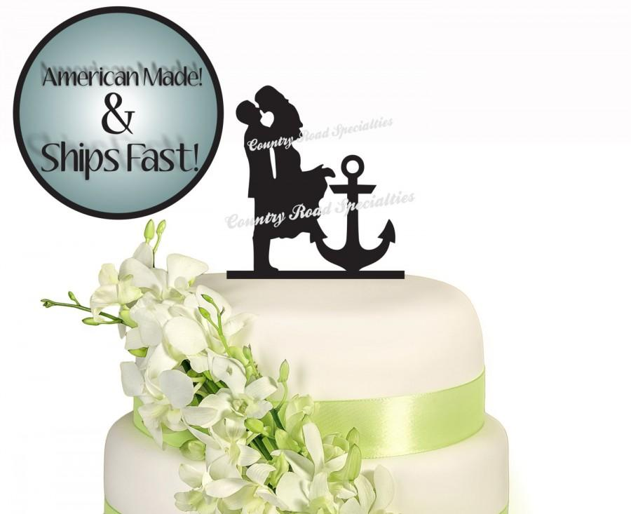 Hochzeit - Silhouette Romantic Couple With Anchor Wedding Cake Topper #519..Made In USA..Ships From USA