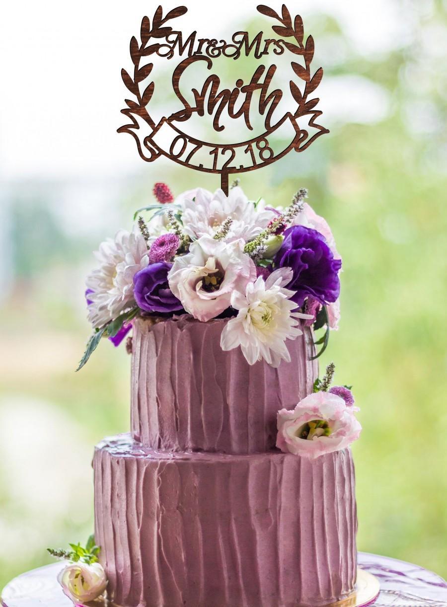 Wedding - Wedding Date Mr&Mrs Personalized Wooden Topper,Wedding cake topper with personalized surname Rustic wedding cake topper Date cake toppers