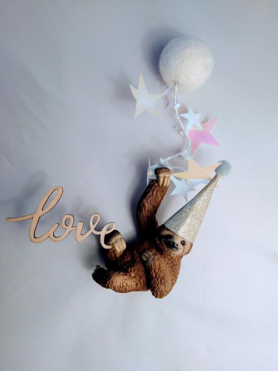 Свадьба - Sloth party animal, animal cake topper, cake decoration, party supplies, child's birthday.