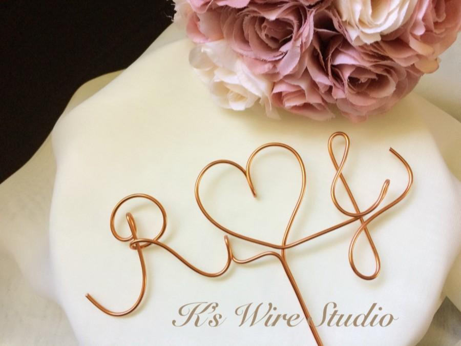 Wedding - A Custom Wedding Cake Topper, Initials Wedding Cake Topper, Monogram Cake Topper,  Wire Heart Cake Decorations, A Custom Wire Decorations